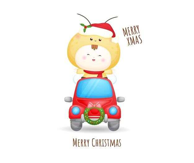 Nettes baby santa im roten auto für frohe weihnachten illustration premium-vektor