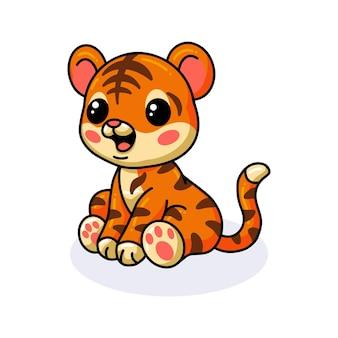Nettes baby-tiger-cartoon-sitzen