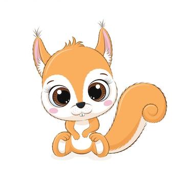 Nettes babyeichhörnchen. illustration