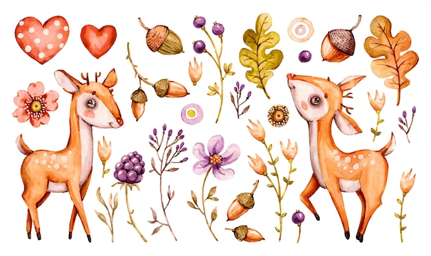 Nettes babyhirsch. wald aquarell kindergarten cartoon waldtiere hirsch, blumen blätter. adorable nurseries wald set