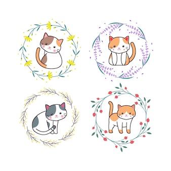 Nettes babykatzen-tier mit blumenkranz-karikatur-hand gezeichneter stil
