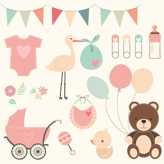 Nettes babyparty-element-set