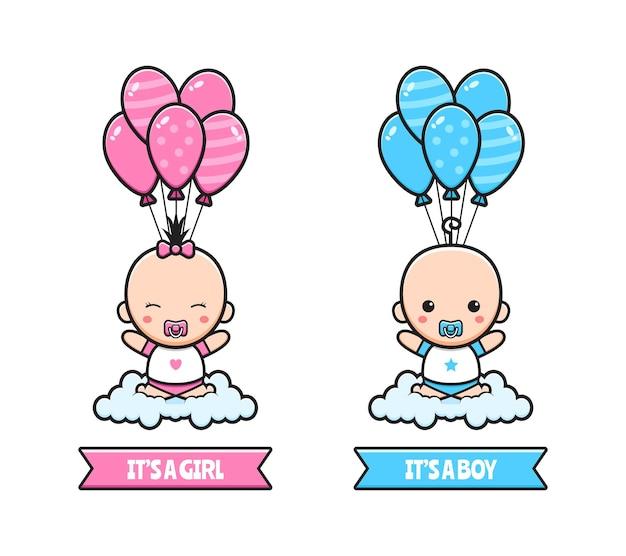 Nettes babypartygeschlecht offenbaren parteikartenkonzeptkarikaturikonenillustrationsdesign flache karikaturart