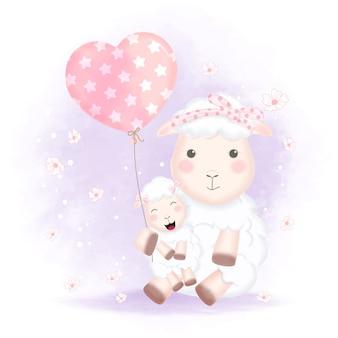 Nettes babyschaf und mutter mit ballonillustration