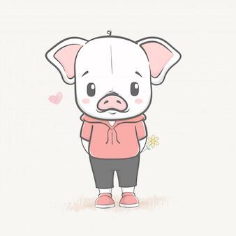 Nettes babyschwein mit einer blumenkarikaturhand gezeichnet