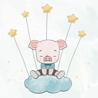 Nettes babyschwein sitzen auf der wolke mit der gezeichneten sternwasserfarbkarikaturhand