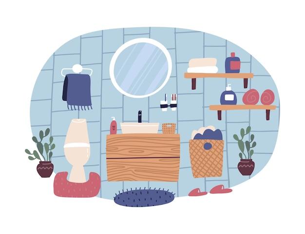 Nettes badezimmer-interieur im trendigen skandinavischen stil, flacher cartoon-stil