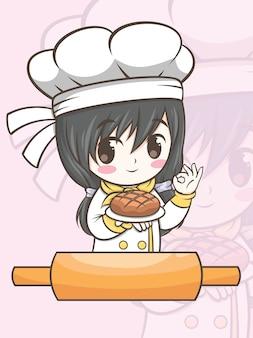 Nettes bäckereikochmädchen, das eine brotkarikaturfigur und eine logoillustration hält