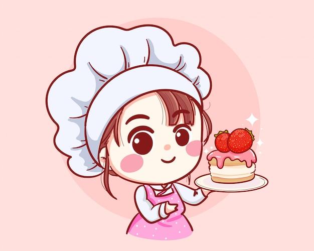 Nettes bäckereikochmädchen, das einen kuchen hält, der karikaturkunstillustrationslogo lächelt.