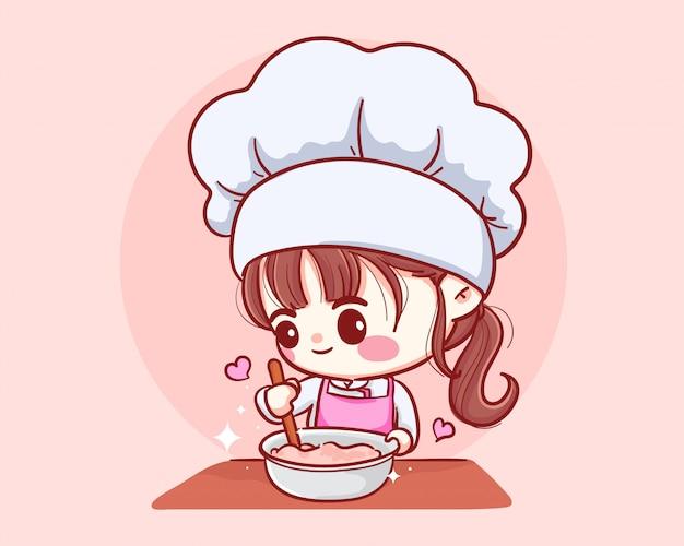 Nettes bäckereikochmädchen, das lächelndes karikaturkunstillustrationslogo kocht.