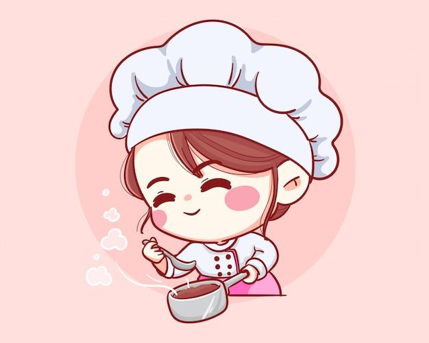 Nettes bäckereikochmädchen schmeckt lächelndes karikaturkunstillustrationslogo.