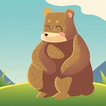 Nettes bärenkarikaturtier, das in der wiesenillustration sitzt