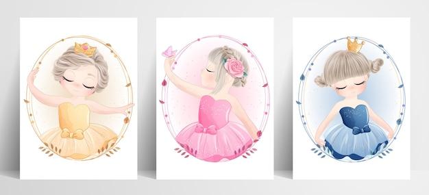 Nettes ballerina des kleinen mädchens gesetzt mit aquarellillustration