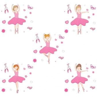Nettes ballerinamädchen in der unterschiedlichen frisur auf gekritzelelementhintergrund.