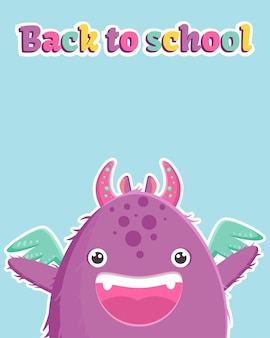 Nettes banner mit einem kleinen lila monster und buntem text zurück zur schule. vorlage auf blauem hintergrund.