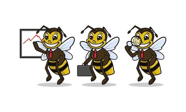 Nettes bienenmaskottchengeschäftsbezogenes designillustrationsset