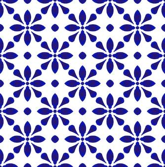 Nettes blaues und weißes nahtloses muster