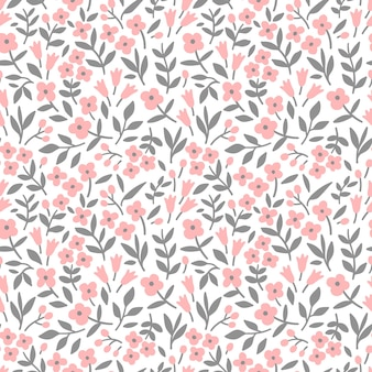 Nettes blumenmuster in den kleinen rosa blumen nahtloser vektortextur weißer hintergrund