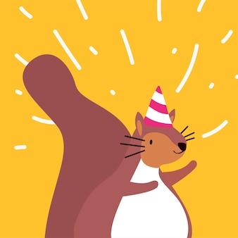 Nettes braunes eichhörnchen, das einen partyhut trägt