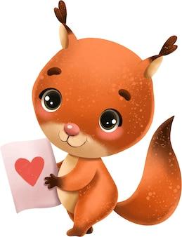 Nettes braunes eichhörnchen des illustrationscharaktertieres mit herzmuster