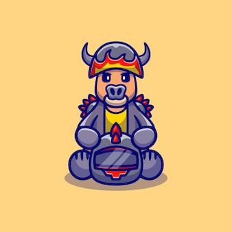 Nettes büffel-motorrad-gangmitglied
