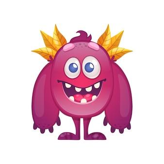 Nettes buntes monster mit großen armen und blättern auf kopfkarikaturillustration