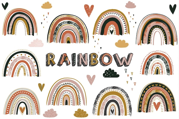 Nettes buntes regenbogen-sammlungsset