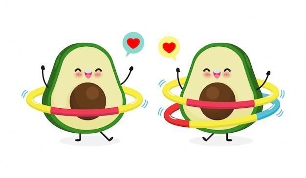 Nettes cartoon-avocado-paar, das übungen mit hula hoop macht. gewichtsverlust-konzept, essen gesundes essen und fitness, lustiger fruchtcharakter-sport lokalisiert auf weißer hintergrundillustration