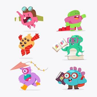 Nettes cartoon-baby-monsterset. flacher charakter der lustigen kreatur des vektors isoliert.