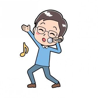 Nettes cartoon-charakter-mannlied
