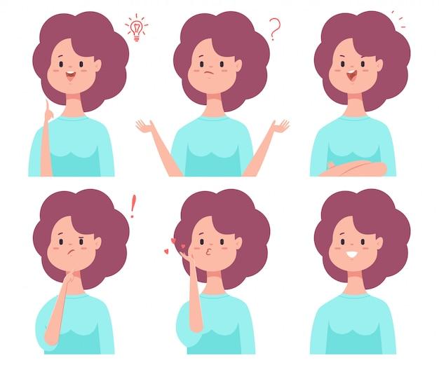 Nettes cartoon-mädchen mit verschiedenen emotionen: lächeln, verwirrt, denkend, verwirrt, verliebt und mit idee.