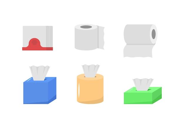 Nettes cartoon-stoffpapierset, rollbox, verwendung für toilette, küche im flachen design. das papierprodukt wird für hygienische zwecke verwendet. hygieneprodukte. hygiene icons set.