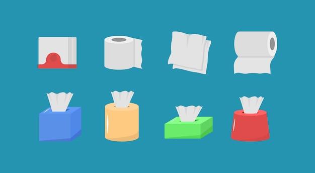 Nettes cartoon-stoffpapierset, rollbox, verwendung für toilette, küche im flachen design. hygienische produkte. das papierprodukt wird für hygienische zwecke verwendet. hygiene icons set.