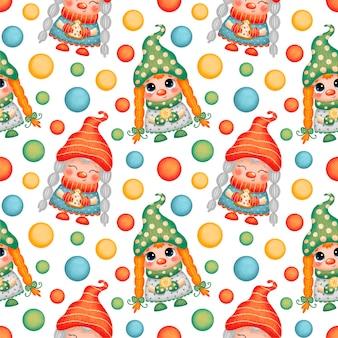 Nettes cartoon-weihnachtsgnomenmädchen nahtloses muster
