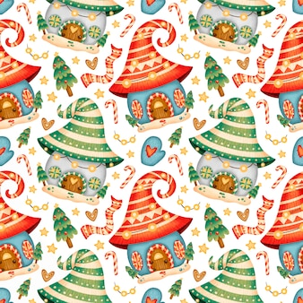 Nettes cartoon-weihnachtshaus nahtloses muster