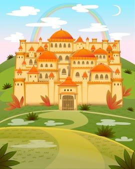Nettes cartoonschloss. märchenkarikaturschloss. fantasie-märchenpalast mit regenbogen. illustration