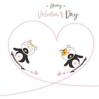 Nettes charakterdesignpaar liebt pinguinkatze mit skateboard für glücklichen valentinstag.