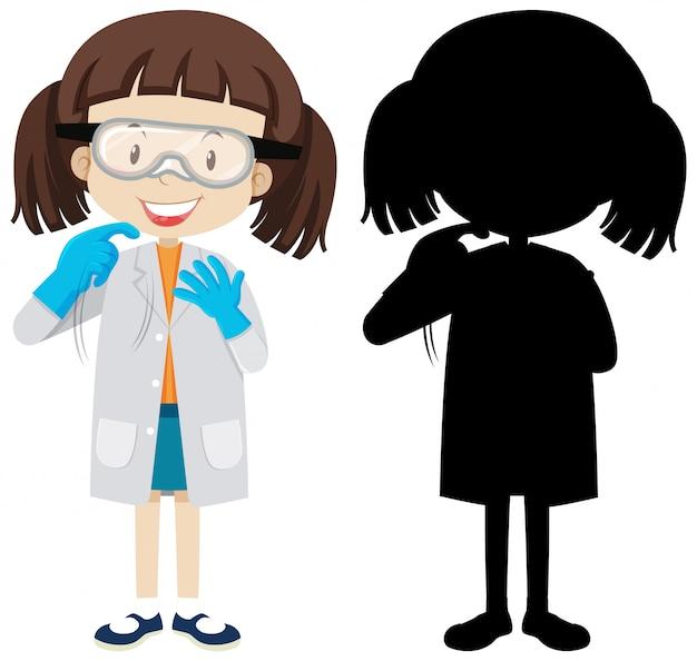 Nettes chemiker-mädchen mit seiner silhouette
