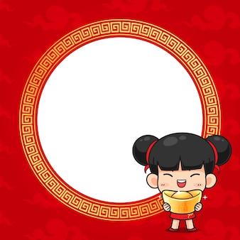 Nettes chinesisches mädchen im roten traditionellen kostüm auf rot
