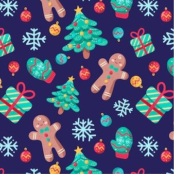 Nettes chritmas-muster mit lebkuchen und weihnachtsbäumen