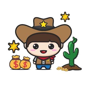 Nettes cowboy-maskottchen