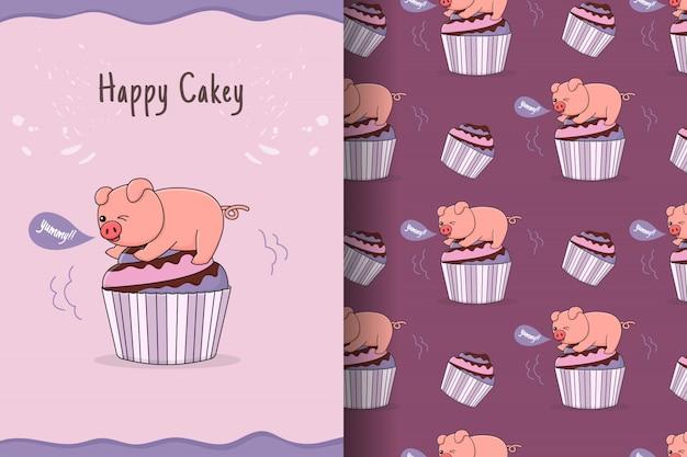 Nettes cupcake-schweinchen nahtloses muster und karte
