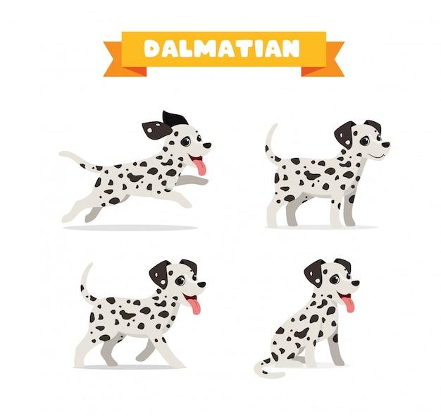 Nettes dalmatinisches hundetierhaustier mit vielen posenbündelsatz