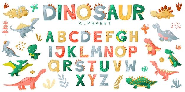 Nettes dino-alphabet der karikatur auf weißem hintergrund kindertypografie