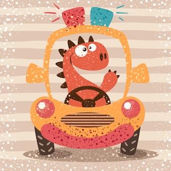 Nettes dino fahren lustiges auto