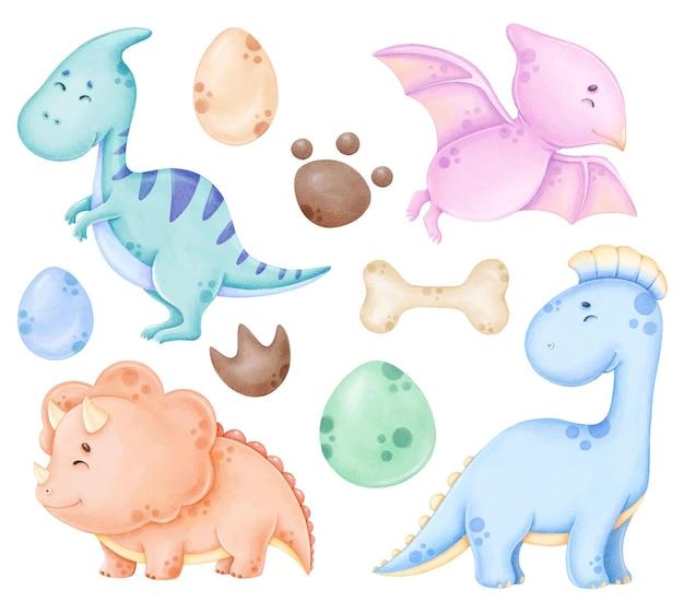 Nettes dinosauers clipart-set