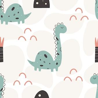 Nettes dinosauriermuster - hand gezeichnetes nahtloses musterdesign des kindischen dinosauriers. vektor-illustration