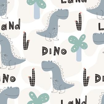 Nettes dinosauriermuster - hand gezeichnetes nahtloses musterdesign des kindischen dinosauriers