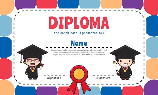 Nettes diplomzertifikat bunter hintergrunddesignschablonenikonenillustrationsdesign flache karikatur
