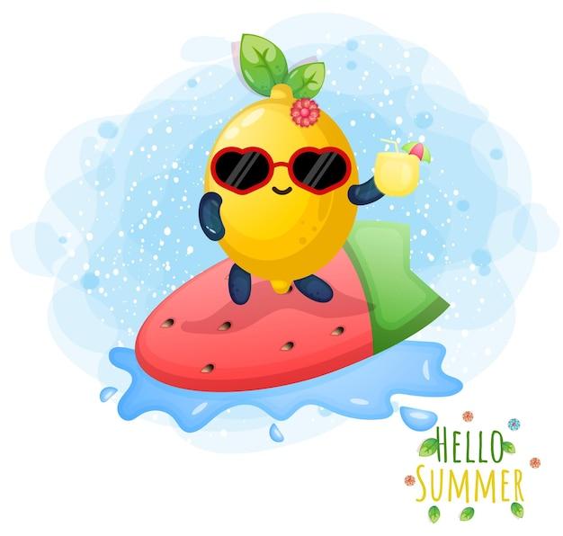 Nettes doodle-zitronen-mädchen, das surf-cartoon-figur spielt. hallo sommergrußkarte